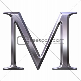 3D Silver Greek Letter My