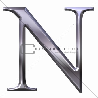 3D Silver Greek Letter Ny
