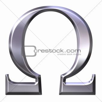 3D Silver Greek Letter Omega