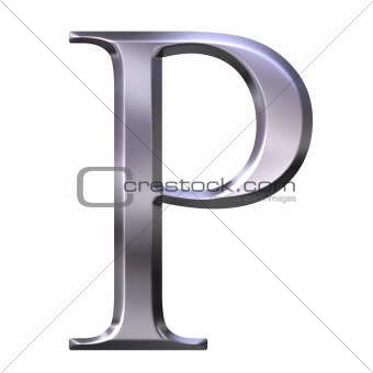 3D Silver Greek Letter Rho