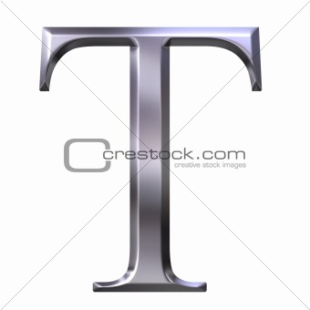 3D Silver Greek Letter Tau