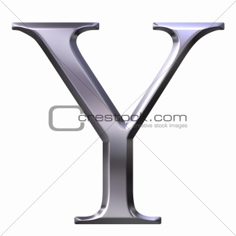3D Silver Greek Letter Ypsilon