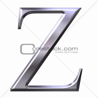 3D Silver Greek Letter Zeta