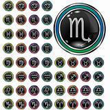 Psychedelic zodiac icons