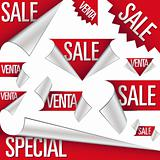 Sale and venta labels and stickers