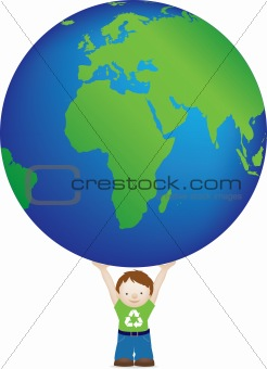 boy and big globe