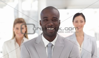 Business leader smiling at camera