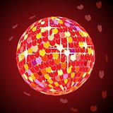 Vector valentine disco ball