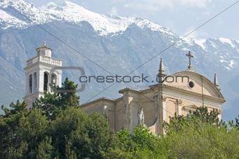 church of malcesine at garda lake in italy