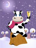 Christmas cow, vector