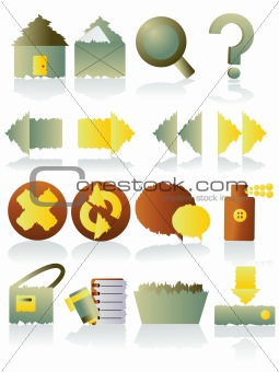 Grunge icons set. Vector