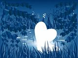 Heart in pond. Vector valentine background.