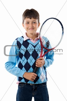 Adorable boy with racket of tennis