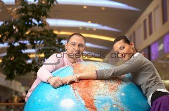 Couple on globe