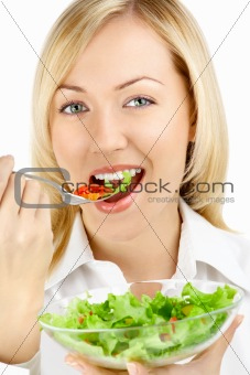 Girl and salad