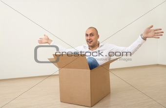 A man in  a box