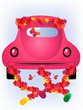 Just married. Vector car