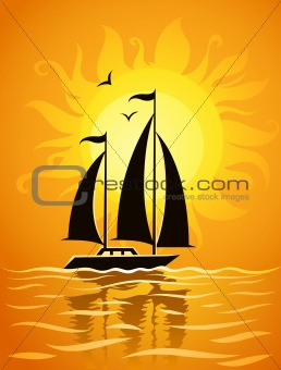 Black ship silhouette on sea sunset background
