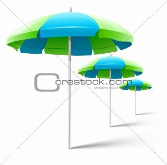 beach umbrellas isolated on white