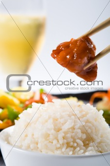rice and sweet sour pork