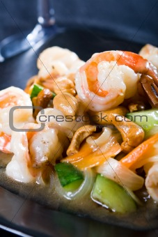 prawn and cashew nuts stir fry