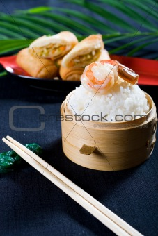prawn, rice and egg roll