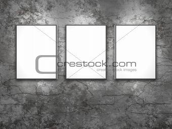 three white frames