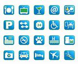 Blue Hotel Vector Icons