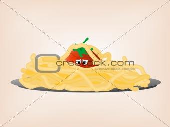 Tomato in pasta. Vector