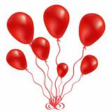 Beautiful red balloon in the air