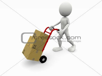 3d cartoon character that transport some boxes