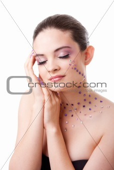 Beatiful woman with purple makeup