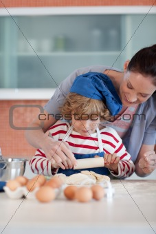 Mother and child doing Christmas baking