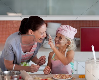 Portrait of Mother and Daugther having fun together
