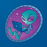 Alien with Laptop Computer