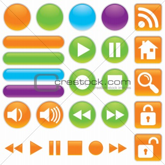 Audio and Video Shiny Gel Button Set