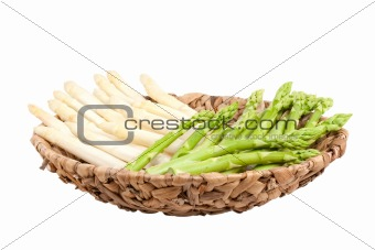 asparagus in bowl on white background