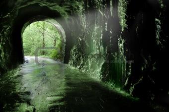 Old tunnel of the Plazaola«s  train. Leitzaran Valley. Spain