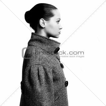 Young pretty woman in coat