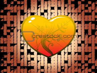 decorated heart with abstract background