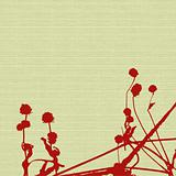 seed heads and stems on cream woven canvas