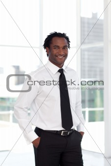 Business leading smiling at camera