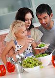 Family perparing lunch in the kitchen