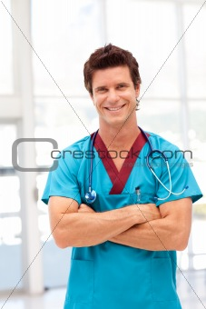 Potrait of a Young Doctor smilling at camera