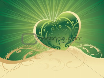 green rays background with green heart
