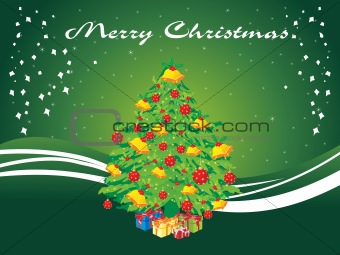green xmas background with decor tree