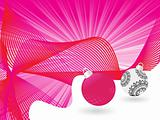 pink wave background with artistic design balls