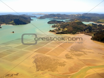 Aerial view of Ocean Agriculture in Whangaroa Harbour, Northland