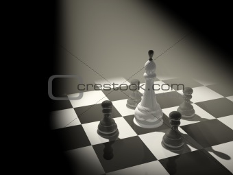 3d chess king, surrounded with four pawns