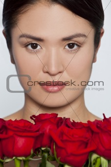 Beautiful Japanese Girl With Roses